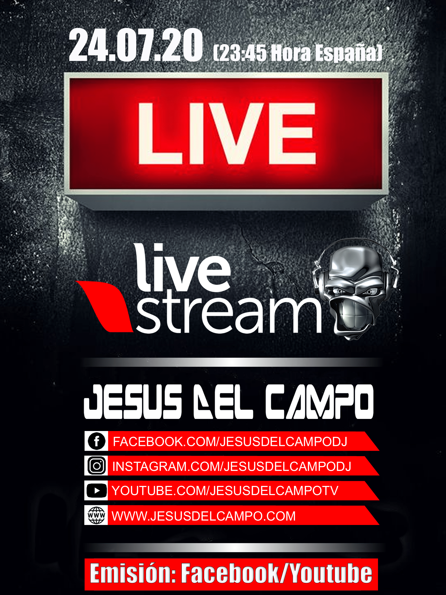 flyer Live Stream 24 jul 2020 jesus del campo