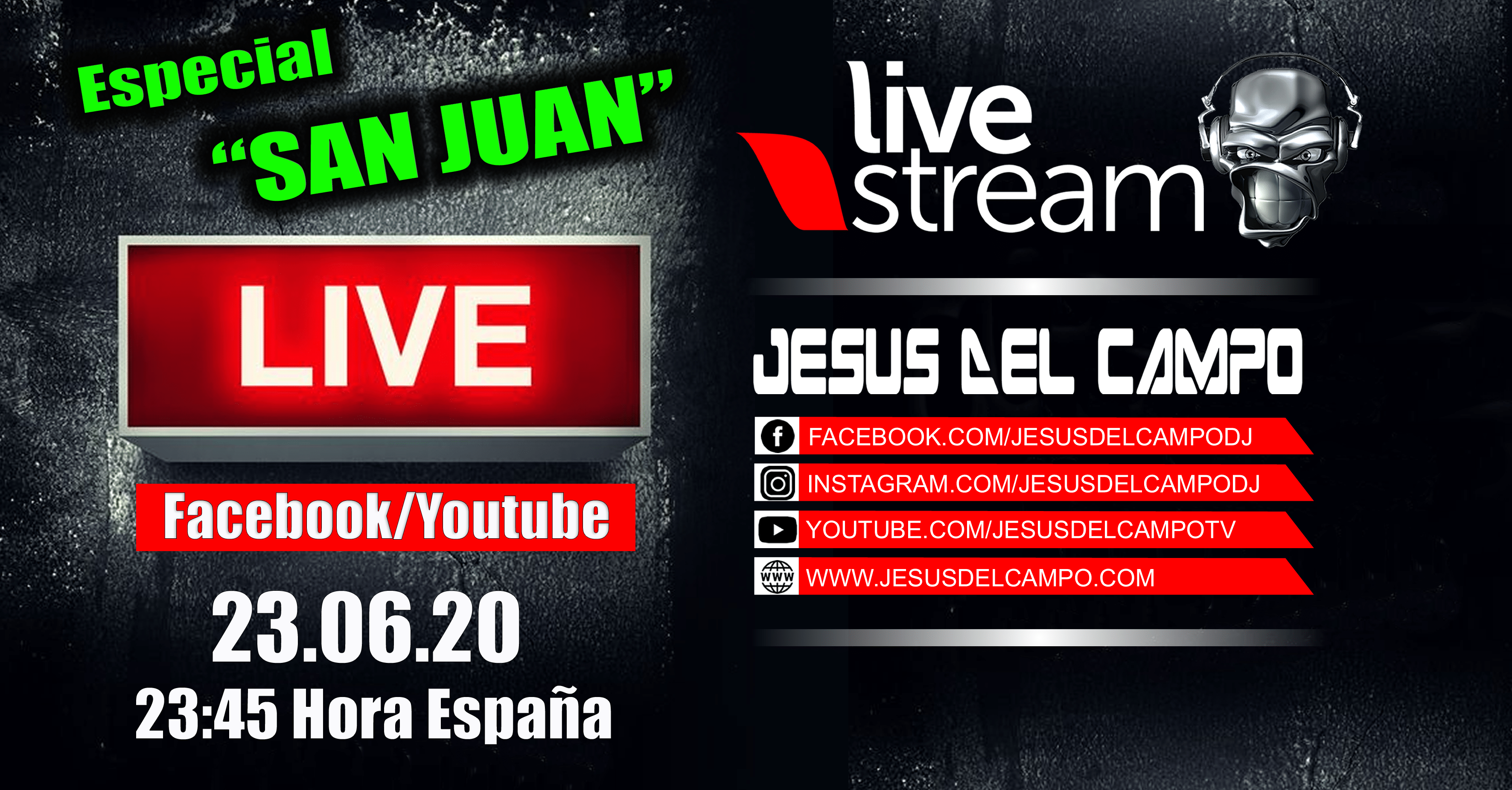 flyer Live Stream San Juan 23 jun 2020 facebook Youtube jesus del campo