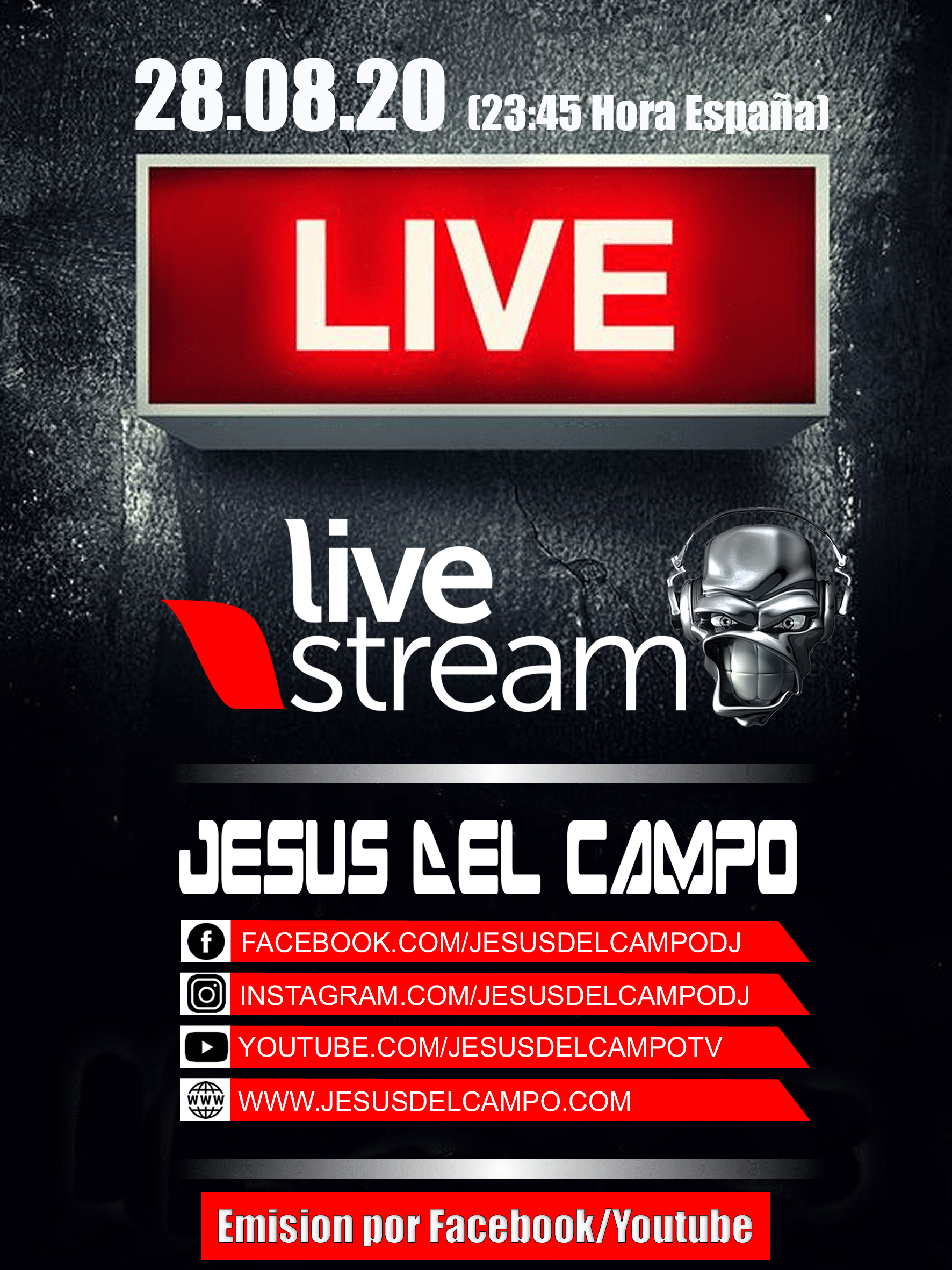 flyer Live Stream 09 2020 cartel jesus del campo